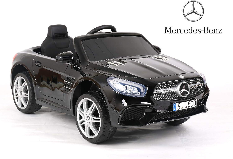 ES-TOYS Kinderfahrzeug - Elektro Auto Mercedes SL500 - Lizenziert - 12V7AH Akku,2 Motoren- 2,4Ghz Fernsteuerung, MP3+Radio+Blautooth+Ledersitz+Eva (Schwarz)