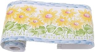 Amao Peel and Stick Sunflower Wallpaper Border for Bedroom Bathroom Nursery Room Decoration