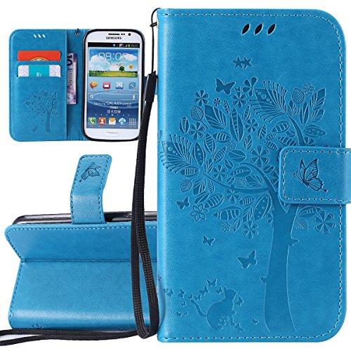 ISAKEN Compatibile con Samsung Galaxy Grand Neo I9060 Custodia, Libro Flip Cover Portafoglio Wallet Case Albero Design in Pelle PU Protezione Caso con Supporto di Stand/Carte Slot/Chiusura - Blu