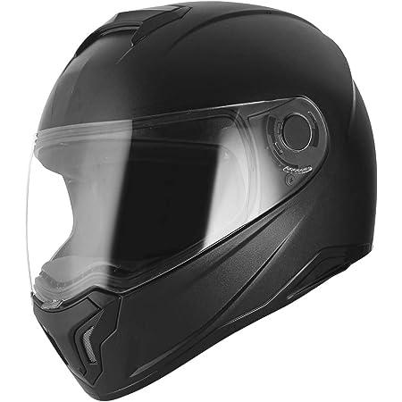 ABP Moto Matte Classic Isi Mark Motorbike Helmet with Clear Visor, Air Black