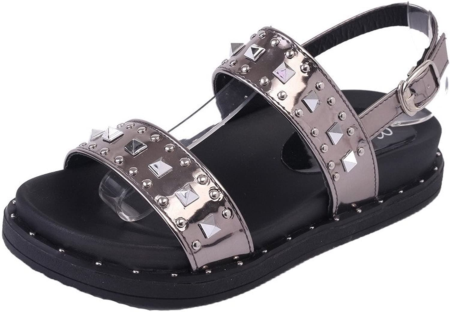 WeiPoot Women's Open-Toe Low-Heels PU Solid Buckle Sandals