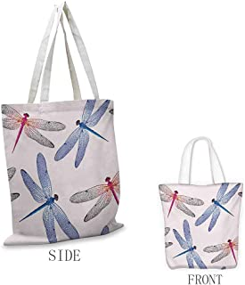 Dragonfly Shopping bag is easy to carry Dragonfly Forms High Detailed Ornate Irregular Macro Retro Simplistic Artsy Print Full color shopping bag W15.75 x L17.71 Inch Pink Blue