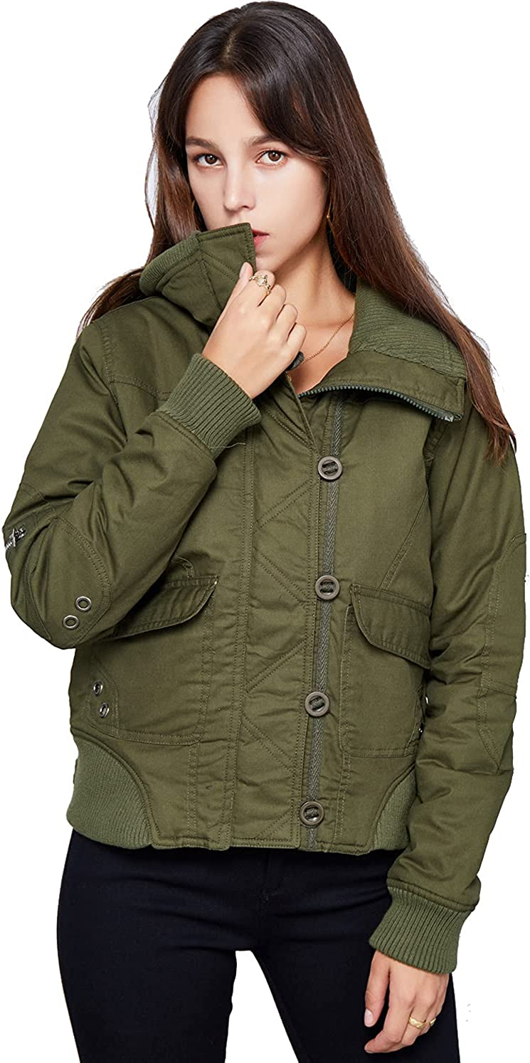 GZDMFS Womens Warm Max 57% OFF Cotton Padded Coat Up Casual Outdoo Short shipfree Zip