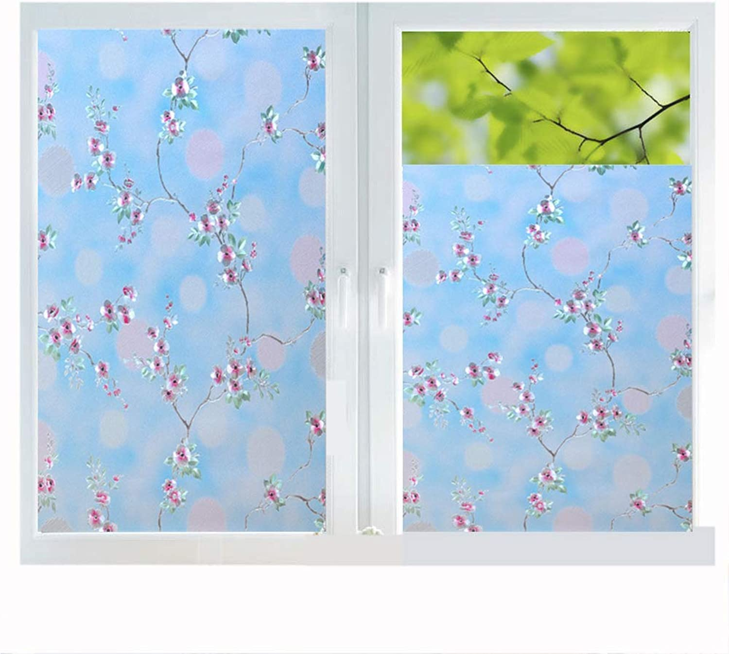 Window Sticker Film Privacy, Frosted Glass Decal Privacy Predection Heat Control Anti UV No Glue Frosting Stained Glass Static Cling Home Office,60x200cm(23x78in)
