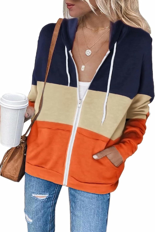 Zecilbo Women's Full-Zip Casual Hoodie Jackets Long Sleeve Sweatshirt with Pocket