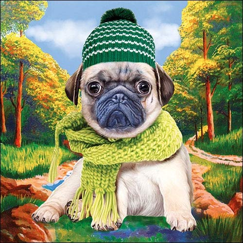 Papier Servietten Lunch Fest Party ca 33x33cm Herbst Winter Autumn Pug Hund