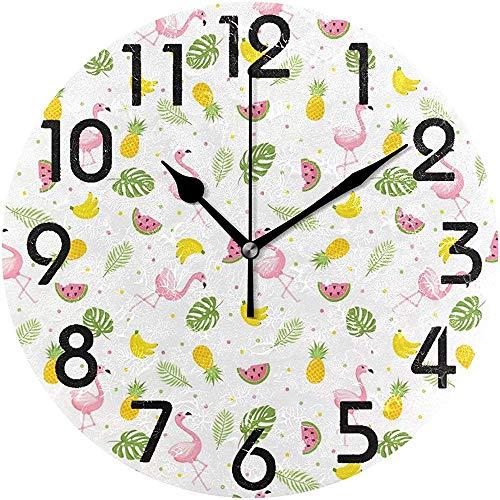 Cy-ril Belles Feuilles de Palmier Tropical Flamingo Ananas Imprimer Horloge Murale Ronde décoratif Batterie fonctionnant au Calme Horloge de Bureau