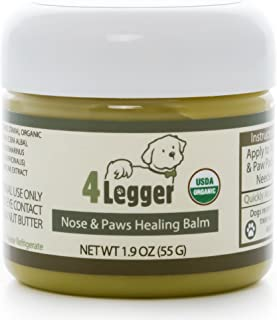 4-Legger Certified Organic Nose & Paw Pad Healing Balm for Dry Chapped Cracked Skin with Hemp Oil & Shea Butter - Made in USA - 1 Each - 1.9 oz