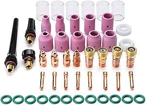 Alffun 51pcs TIG Welding Torches Gas Lens Kit Collet Body Alumina Nozzle Consumables Kit Fit WP-17 WP-18 WP-26 Series TIG Welding Torch Accessories
