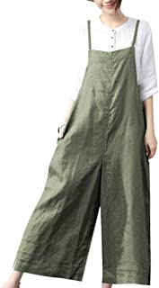 Women Casual Cropped Bib Pants Wide Leg Jumpsuits Rompers Overalls/w Pockets PZZ