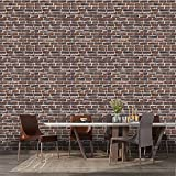 Shikha 3D Faux Stone Wall Panels Farmhouse 10 Pack 3D Self-Adhesive Faux Foam Bricks Waterproof Wallpaper Living Room Bedroom Background Wall Decoration(10, Rust Red Brown Brick)