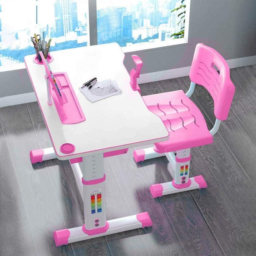 Height Adjustable Multifunctional Desk with Storage Drawer Blue,70cm Kids Study Desk and Chair Set Ergonomic Childrens Study Desk