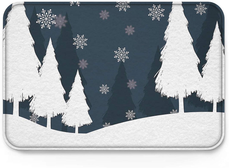 ZOE STORE Doormat 20x31.5in Rubber Backed Mat Accent Non-Slip Doormats, Xmas Christmas Theme Winter Forest Snowflake Artical Door Mat Indoor Doormat Kitchen Rugs