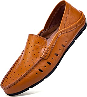 Z.SUO Loafers Flats Men's Slip on Moccasin Handmade Leather Fashion Slipper Breathable Driving Shoes Casual Shoes Big Size