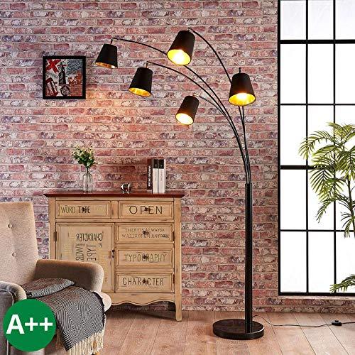 Lindby Stehlampe (Bogenleuchte) 'Tinne' (Modern) in Schwarz aus Textil u.a. für Wohnzimmer & Esszimmer (5 flammig, E14, A++) - Stehleuchte, Floor Lamp, Standleuchte, Wohnzimmerlampe, Wohnzimmerlampe