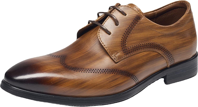 WKNBEU Men's Dress Leather Lace Up Derby Uniform Shoe Oxford Dress Shoes Formal Brogues Men Oxfords Brown- US8.5-9/UK7.5-8/EU41