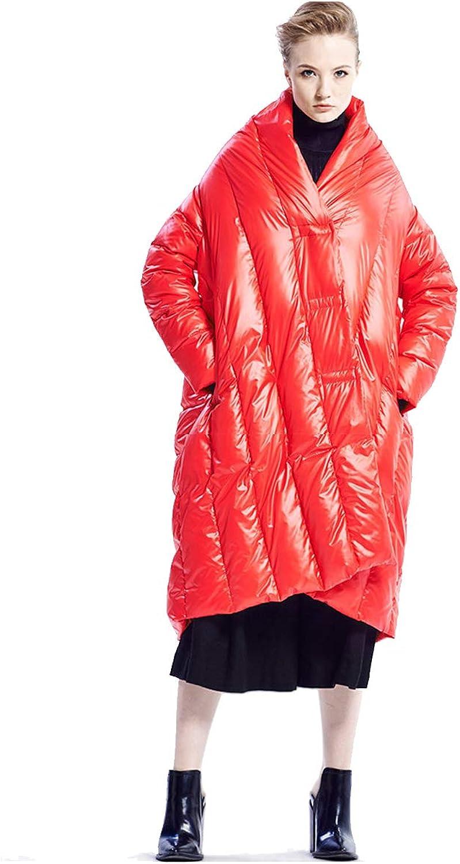 Ursfashion 2018 Winter Big Plus Size White Duck Down Jacket Cloak Female Loose Style for Trip Travel Pregnant Long Coat
