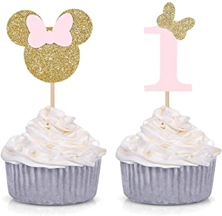 Minnie Mouse Inspired First Birthday Party Picks - Pink and Gold Baby Girl Cupcake Toppers - Set of 24