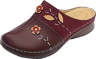 UULIKE Sandales Femme,Sabots Mules en Cuir PU Pantoufle Plage Tongs Eté Chaussures Jardinage Maison avec Semelle Confortab...