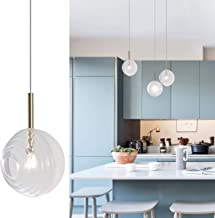 Bewamf Mini Island Pendant Lighting Contemporary Chandelier 1-Light Loft Globe Glass Hanging Fixture for Kitchen Island Living Dining Room Bedroom White