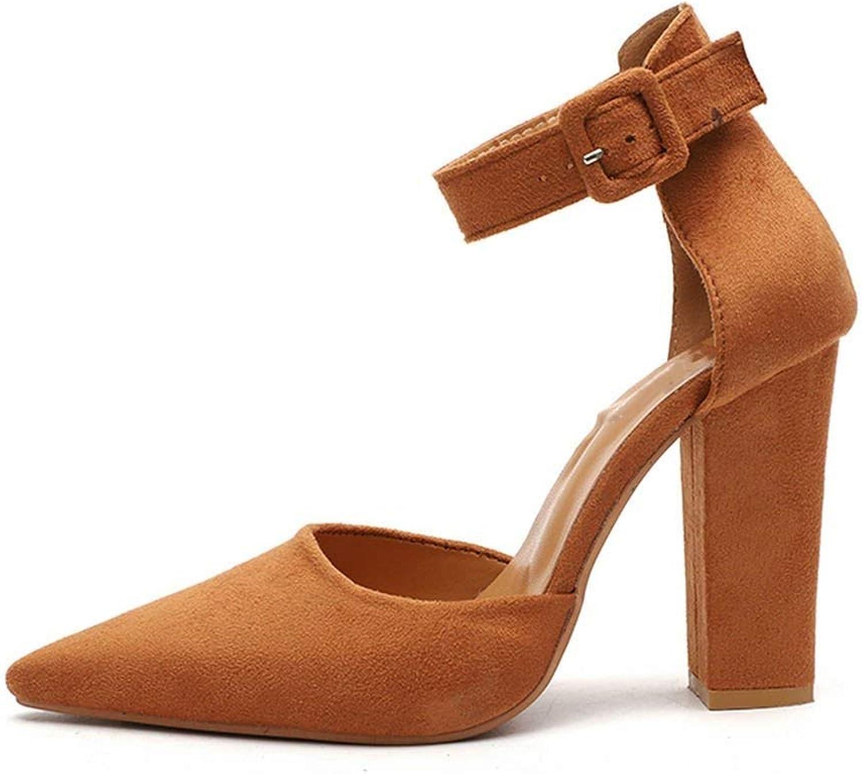 Pleasantlyday Woman High Heels Buckle Strap Flock shoes Elegant