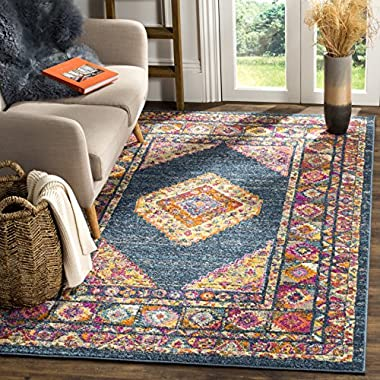 Safavieh Madison Collection MAD133C Blue and Fuchsia Bohemian Chic Medallion Area Rug (8' x 10')