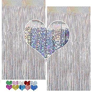 CYLMFC Foil Fringe Curtains - 2 Packs 3ftx8ft Sparkle Metallic Curtains Party Decorations Photo Booth Decorations Party Supplier - Sliver