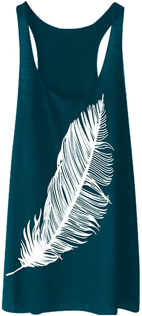 AODONG Womens Tank Tops Loose Fit,Soft Summer Feather Printed Long Sleeveless Shirt Casual Tank Top Camisole
