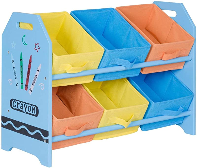Casart Kids Toy Organizer With 6 Multi Color Storage Bins