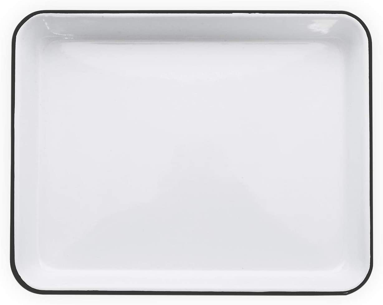 Enamelware Small Rectangular Tray Max 40% OFF 11.25 9 Vintage x Whi Max 82% OFF inches
