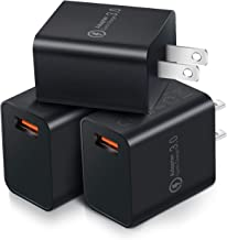 Quick Charge 3.0 Wall Charger, OKRAY 3 Pack 18W Fast Charging USB Wall Charger Adapter Charging Block Compatible 10W Wireless Charger, iPad Pro, Tablets, iPhone, Samsung Galaxy, LG, HTC (All Black)