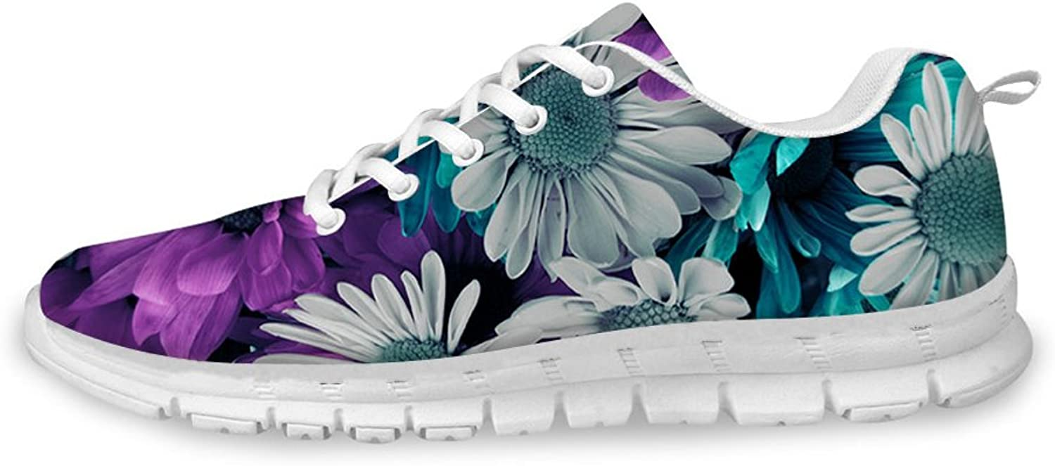 coloranimal Stylish pink Floral Print Women's Fashion Sneakers Outdoor Walking Running shoes