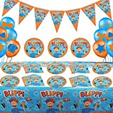 Set of 63 Pcs Blippi Birthday Party Supplies and Decorations for 2 3 and 4 Years Old Boys Girl Kids Includes Plates Banner Balloon Table Cloth Napkin with Prime