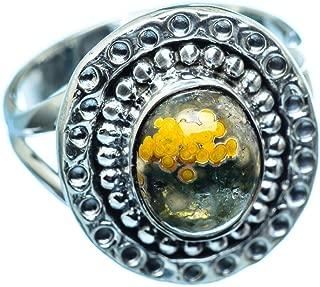 Co Ocean Jasper Ring Size 8.25 (925 Sterling Silver) - Handmade Jewelry, Bohemian, Vintage RING971449