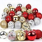 OurWarm Christmas Ornaments Balls, 24 Pcs Shatterproof Christmas Tree Ornaments Christmas Decorations for Xmas Tree Party Holiday Home Decor