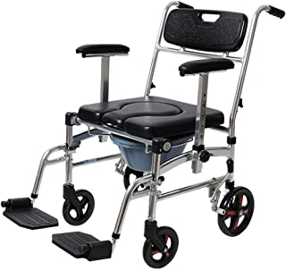 LZLYER Shower Chair Toilet Bathtub Portable Mobile Wheeled Commode Chair, Over Toilet Seat, Suitable for Obese Adults, Elderly, Pregnant Women, Disabled People