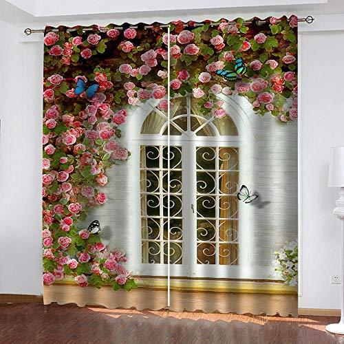 BWBJJ 3D Verdunkelungsvorhang Fenster ging auf Verdunkelungsvorhang 3D-Druck Mode Schlafzimmer Wohnzimmer Dekoration Isolierung Lärmschutzvorhänge 2 x B110 x H215 cm