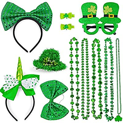 St Patrick's Day Accessories Gifts for Kids and Adults, Party Favors Include 5 Different Necklaces, Unicorn Headband, Glasses, Sequined Bow Tie, Straw Hat Hairpin, 11Pcs Different Accessories, Great Costume Accessories Set