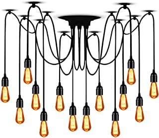 T&A 14 Arms Spider Lamps Vintage Edison Style Adjustable DIY Ceiling Spider Pendant Lighting Rustic Chandelier(Each with 78.74