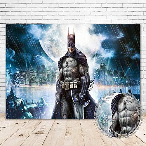 YouRan Batman Birthday Decorations Backdrop 7x5 Superhero New York City Background Marvel Batman Backdrop for Baby Shower Happy Birthday Photo Background Batman Party Decorations for Boys