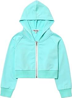 Girls Cropped Zip Up Hoodie Crop Tops Hoodies Kids Long Sleeve Sweatshirts Jacket