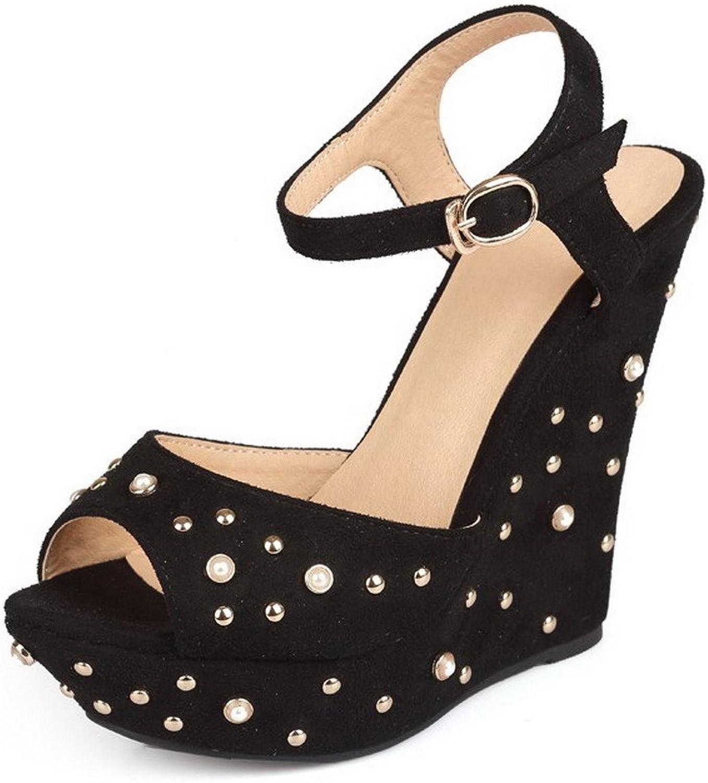 AmoonyFashion Women's Solid Imitated Suede High-Heels Peep-Toe Buckle Sandals