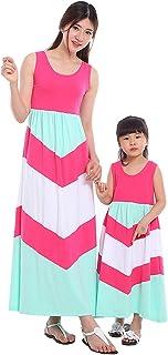 Wennikids Cotton Material Mommy and Me Chevron Maxi Dress Hot Pink Women Medium