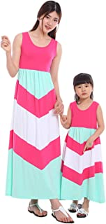 Wennikids Cotton Material Mommy and Me Chevron Maxi Dress