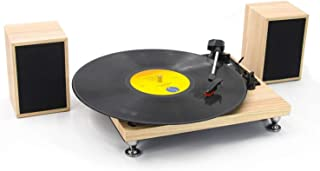 Vinyl Record Player with Powerful External Speakers 3 Speed Belt-Driven Wooden Vintage Turntable for Entertainment and Hom...
