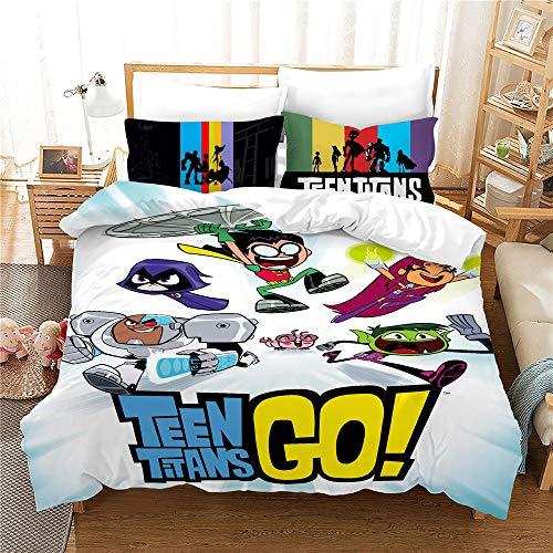 Probuk Juego de cama de Teen Titans Dc Comics 100 % microfibra, ropa de cama para niños y niñas adolescentes, funda nórdica de titanio con funda de almohada (A-03,150 x 200 cm (50 x 75 cm)