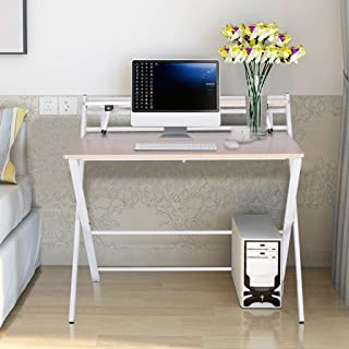 Folding Study Desk for Small Space - Home Office Desk Simple Laptop Writing Table - Free Installation Desk Corner Desks with Storage Shelf, 80x50x72.5CM