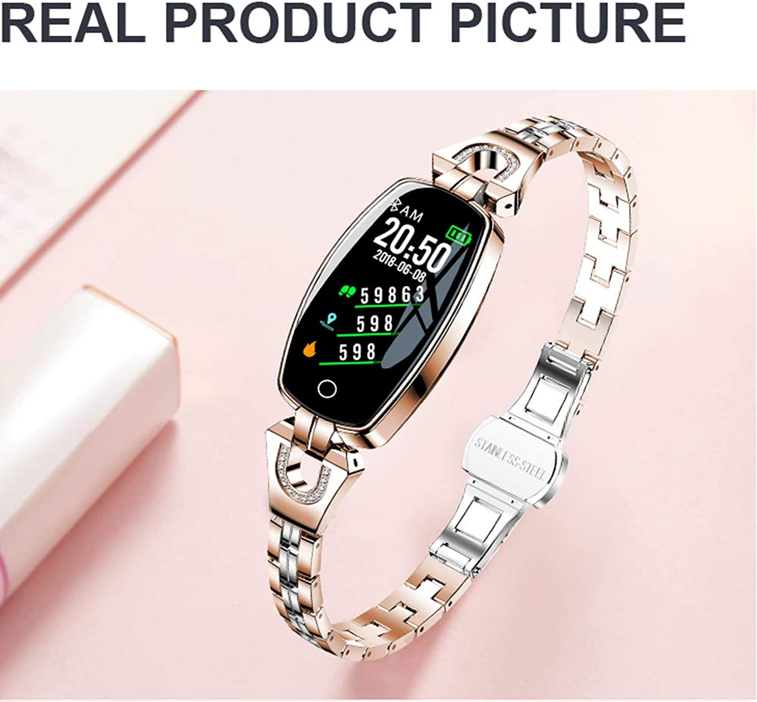 Fitness Watch Waterproof IP67 Fashion Heart Rate Sleep Blood Pressure Monitor Pedometer Touch Screen Fitness Track Smart Bracelet for iOS and Android for Women