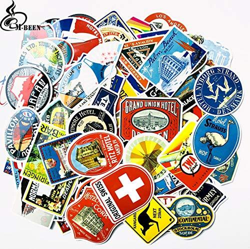 100 Stks Retro Stijl Reizen Hotel Logo Hawaii Reizen Koffer Sticker Muursticker Potlood Frame Fiets Slide Auto Sticker Diy Decal