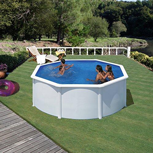 Gre KIT300ECO Fidji - Piscina Elevada Redonda, Aspecto Acero Blanco, 300 x...